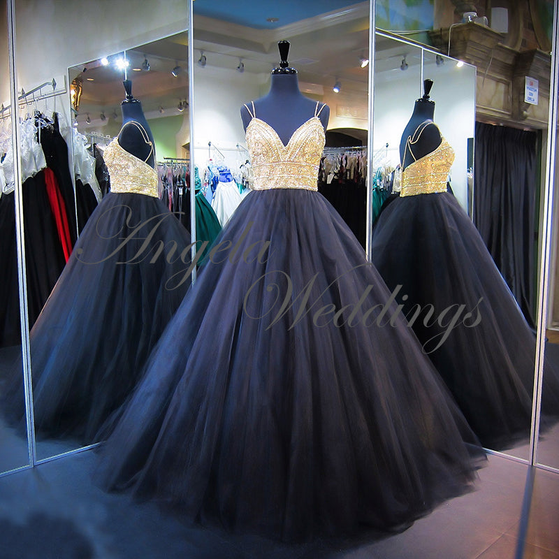 Gold Black Quinceanera Dresses 2018 Sexy Tulle Ball Gowns Real