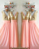 Gold Sequins Pink Chiffon Bridesmaid Dresses Ruffles V-Neck Floor Length