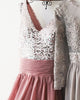 Silver Sequins Dirty Pink Chiffon Bridesmaid Dresses Ruffles V-Neck Floor Length