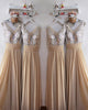 Silver Sequins Champagne Chiffon Bridesmaid Dresses Ruffles V-Neck Floor Length