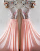 Silver Sequins Pink Chiffon Bridesmaid Dresses Ruffles V-Neck Floor Length