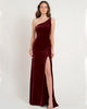2021 Elegant One Shoulder Burgundy Bridesmaid Dresses Split Side Soft Velvet Party Dress for Bridesmaids