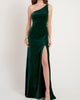 2021 Elegant One Shoulder Bridesmaid Dresses Emerald Green Split Side Soft Velvet Party Dress for Bridesmaids