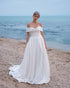 Popular Satin Wedding Dresses Off The Shoulder Backless A-line Bridal Wedding Gowns