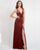 English Rose Long Bridesmaid Dresses Split V-Neck Stunning Velvet Party Dress for Bridesmaids