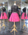 2018 Sexy Two Piece Short Homecoming Dresses Fuchsia Satin Skirt Black Lace Full Sleeve