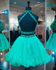 Emerald Green Two Piece Homecoming Dresses Beadings Stylish Short Tulle Prom Party Gowns 2018