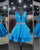 Blue V-Neck Short Homecoming Dresses with Beadings 2018 Satin Prom Party Gowns Cocktail Dress