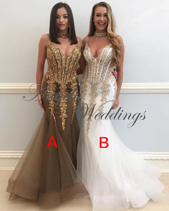 Sexy Gold Lace Mermaid Evening Dresses 2018 with Spaghetti