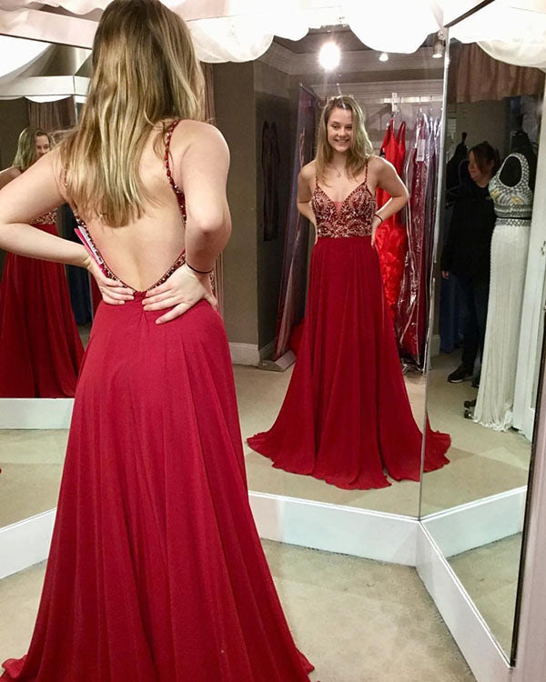f62cb0ba019 Sexy Spaghetti Straps Red Prom Dresses with Beadings A-line Chiffon ...