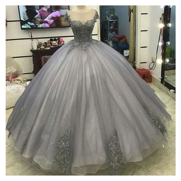 2018 Elegant Gray Quinceanera Dresses with Crystal Organza Lace ...