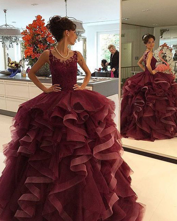 2018 Burgundy Quinceanera Dresses With Organza Ruffles Puffy Ball