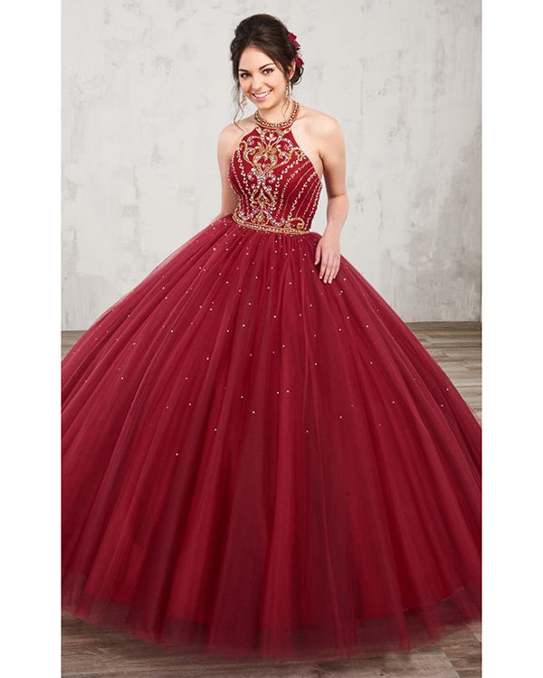 0161158348a Burgundy Quinceanera Dresses with Gold Beadings Halter Tulle Puffy Sweet 16  Dresses Quince Ball Gown
