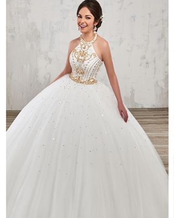 6ac7f92eda7 Burgundy Quinceanera Dresses with Gold Beadings Halter Tulle Puffy Sweet 16 Dresses  Quince Ball Gown
