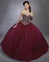 New Burgundy Quinceanera Dresses with Rhinestones Beaded Sweetheart Puffy Ball Gowns Sweet 16 Dress