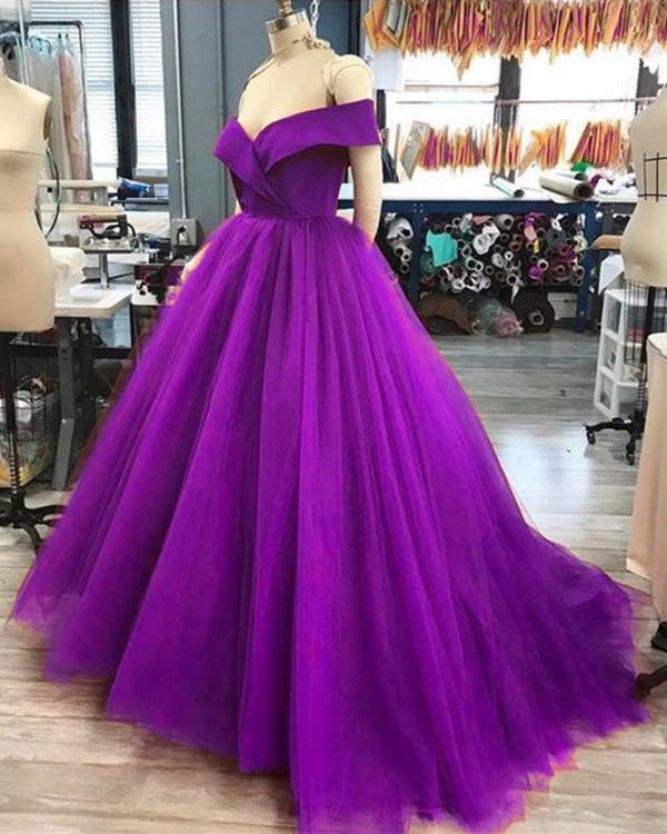 ec17fab4fbe 2018 Purple Quinceanera Dresses with Cap Sleeve Simple Satin Tulle Ball  Gowns Sweet 16 Dresses