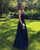 Sexy Navy Blue Prom Dress with Spaghetti Straps Chiffon A-line Long Pageant Party Gowns 2018