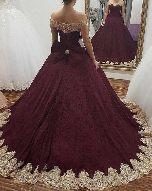 dbf08d6de56 Off The Shoulder Burgundy Quinceanera Dresses with Gold Appliques Bowknot Tulle  Ball Gown Sweet 16 Dress