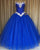 Delicate Royal Blue Quinceanera Dresses with Beadings Strapless Organza Ball Gown Sweet 16 Dress