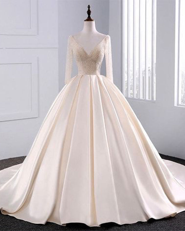 2018 New Simple Elegant Wedding Dress Beautiful Lace A: 2018 Fashion Simple Beige Wedding Dresses Full Sleeve
