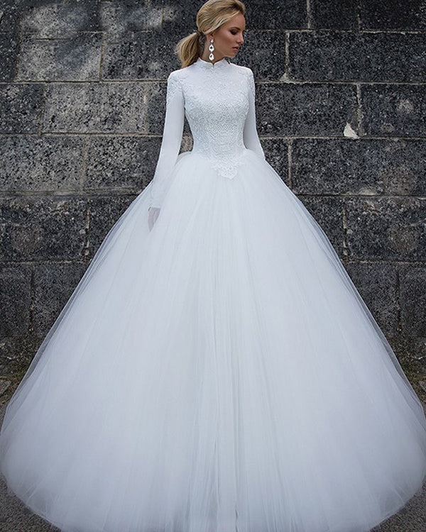 2018 White Wedding Dresses Long Sleeve High Neck Lace Tulle Ball ...