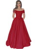Elegant 2018 Red Satin Prom Dresses with Cap Sleeves Popular Prom Party Gowns with Bow