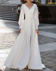 Modest Full Sleeve Wedding Dresses Split Side V-Neck Elegant A-line Brides Gowns with Buttons
