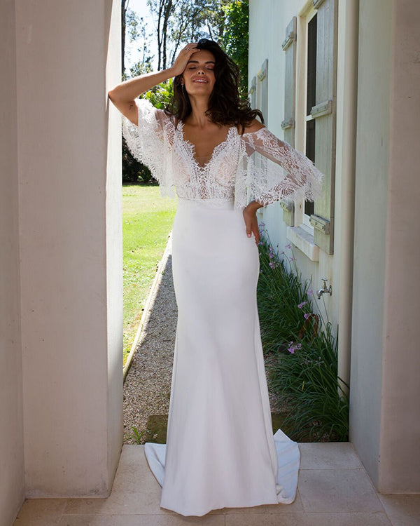 Sexy Mermaid Lace Wedding Dresses With Detachable Bolero 2018 Beach