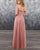 2019 Elegant Deep V-Neck Dusty Pink Chiffon Bridesmaid Dress Party Gowns Floor Length