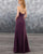 Sexy Spaghetti Straps Grape Chiffon Bridesmaid Dress A-line Party Gowns Floor Length