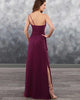 One Shoulder Burgundy Chiffon Bridesmaid Dresses Long Sexy Party Gowns Split Side