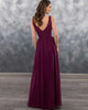 2019 Elegant Dark Burgundy Chiffon Bridesmaid Dresses V-Neck Party Gowns Long