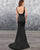 Sexy Deep V-Neck Black Satin Long Bridesmaid Dresses Mermaid Party Gowns Floor Length
