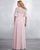 Pink Chiffon Bridesmaid Dresses with Short Sleeve V-Neck Party Gown Floor Length