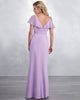 Modest Lilac Chiffon Bridesmaid Dresses with V-Neck Long Party Gowns New Arrival