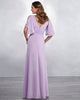Light Purple Long Bridesmaid Dresses with Half Sleeve V-Neck Party Gown Floor Length