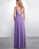 Sexy Spaghetti Straps Purple Tulle A-line Bridesmaid Dresses V-Neck Floor Length
