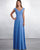 Chiffon floor length dress with a draped tip-of-the-shoulder bodice, V-shaped neckline, lace-up back closure, and an A-line skirt