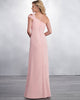 Elegant One Shoulder Pink Chiffon Bridesmaid Dresses Ruffles Long Party Gowns New