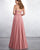 Sexy Soft Dirty Pink Tulle Lace Bridesmaid Dress V-Neck A-line Party Gowns Floor Length