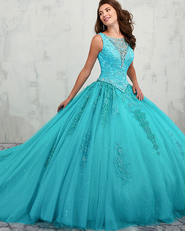 284af49041 Turquoise Puffy Tulle Ruffles Quinceanera Dresses Beaded Lace Ball Gown  Sweet vestidos de quinceañera