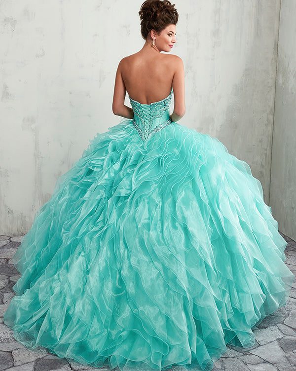 Sexy Strapless Quinceanera Dresses Beaded Organza Puffy Ruffles Party Ball  Gown Sweet 16 Dress