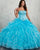 Strapless Blue Quinceanera Dresses Beaded Lace Organza Puffy Ruffles Ball Gown vestidos de quinceañera