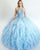 Light Blue Tulle Quinceanera Dresses Halter Beaded Party Ball Gown Ruffles Sweet 16 Dress