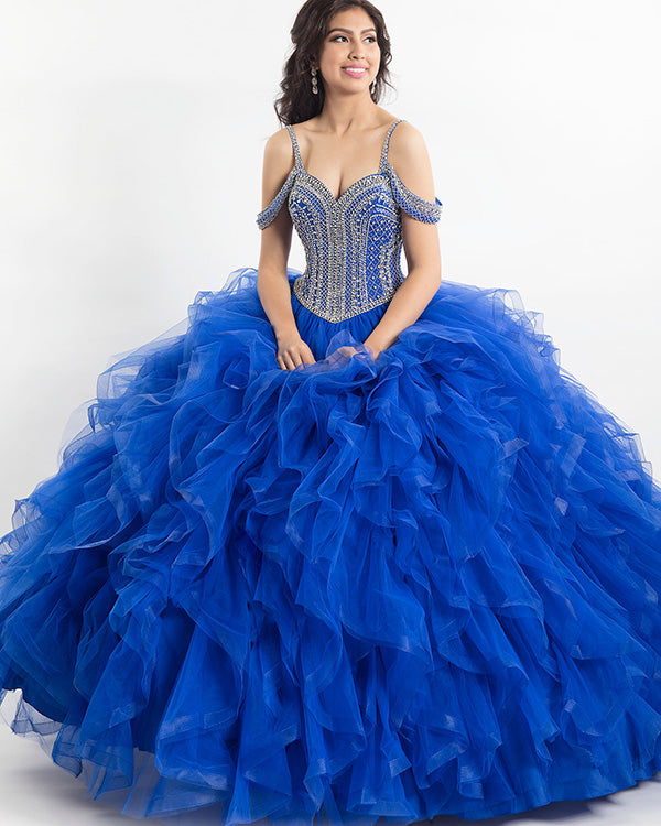 35de7e7987b Royal Blue Quinceanera Dress Beaded Bodice Off The Shoulder Puffy Tulle  Ruffles Sweet 16