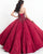 Burgundy Lace Quinceanera Dresses Detachable Spaghetti Straps Party Ball Gown Sweet 16 Dress