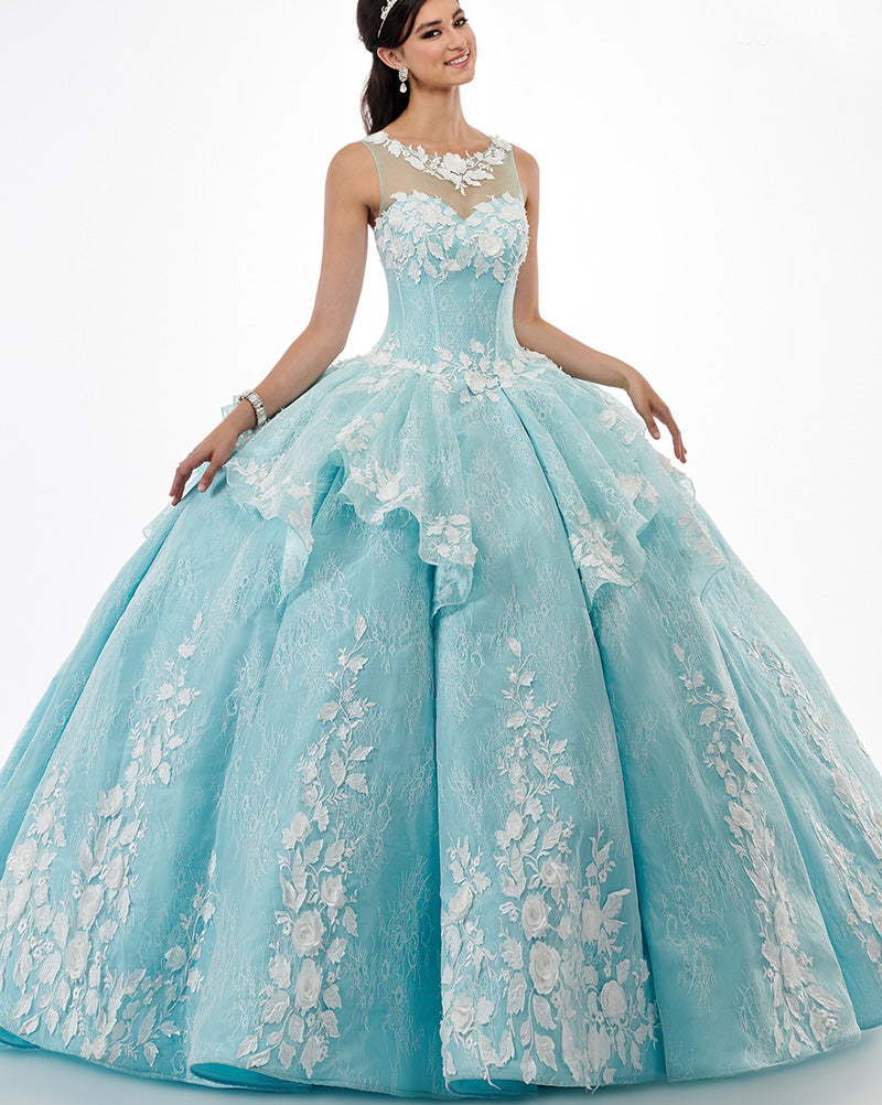 3bde0af0e2 Illusion Aqua Tulle Lace Quinceanera Dresses with Lace Appliques Long Prom  Ball Gown Sweet 16