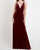 Sexy Burgundy Deep V-Neckline Bridesmaid Dresses Split Side Velvet Sheath Party Dress for Bridesmaids