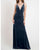 Sexy Deep V-Neckline Navy Blue Bridesmaid Dresses Split Side Velvet Sheath Party Dress for Bridesmaids