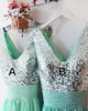 Silver Sequins Mint Chiffon Bridesmaid Dresses Ruffles V-Neck Floor Length